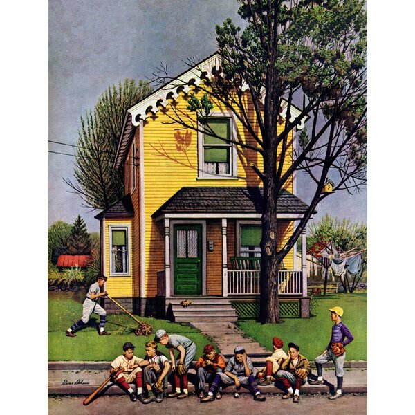 Baseball Player Mowing the Lawn by Stevan Dohanos Painting Print on Wrapped Canvas by Marmont Hill