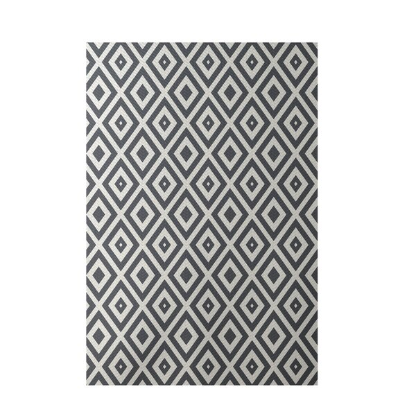 Geometric Dark Gray Indoor/Outdoor Area Rug by e by design