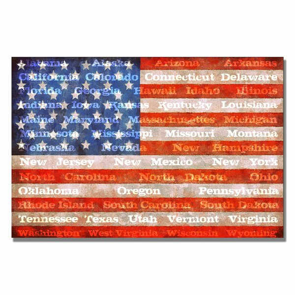 American Flag with States by Michelle Calkins Graphic Art on Canvas by Trademark Fine Art