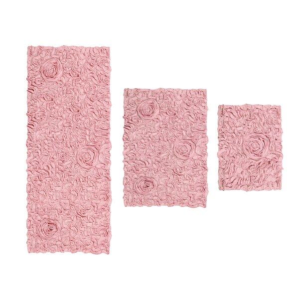 Pothier Flower Rectangle 100% Cotton Non-Slip piece Bath Rug Set