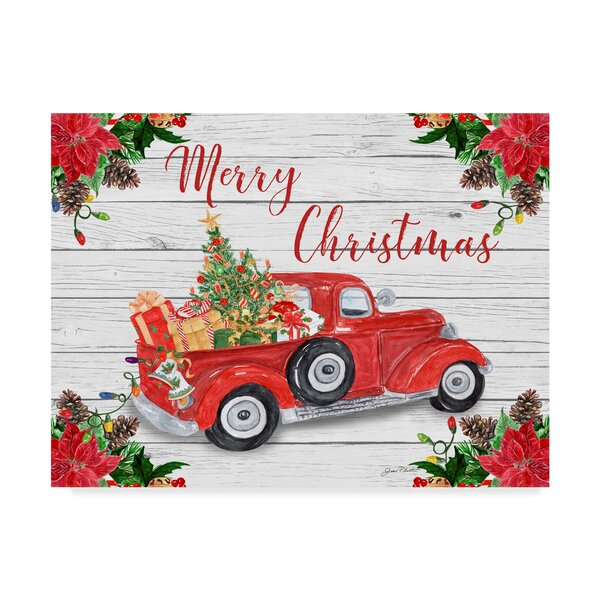 Christmas Red Truck.Vintage Red Truck Christmas Graphic Art Print On Wrapped Canvas