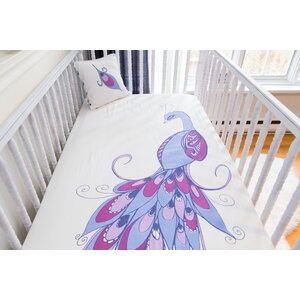 Peacock Organic Fitted Crib Sheet