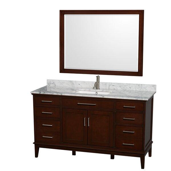 Hatton 60 Single Dark Chestnut Bathroom Vanity Set with Mirror by Wyndham Collection