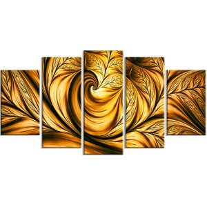 'Golden Dream Abstract' 5 Piece Graphic Art on Wrapped Canvas Set by Latitude Run