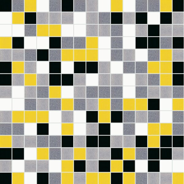 Standard Mix 13 x 13 Glass Mosaic Tile in Yellow/Black by Mosaic Loft
