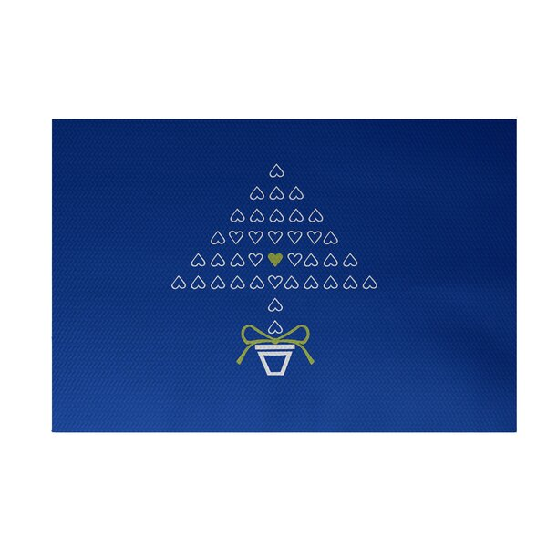 Hearty Holidays Decorative Holiday Print Royal Blue Indoor/Outdoor Area Rug by The Holiday Aisle