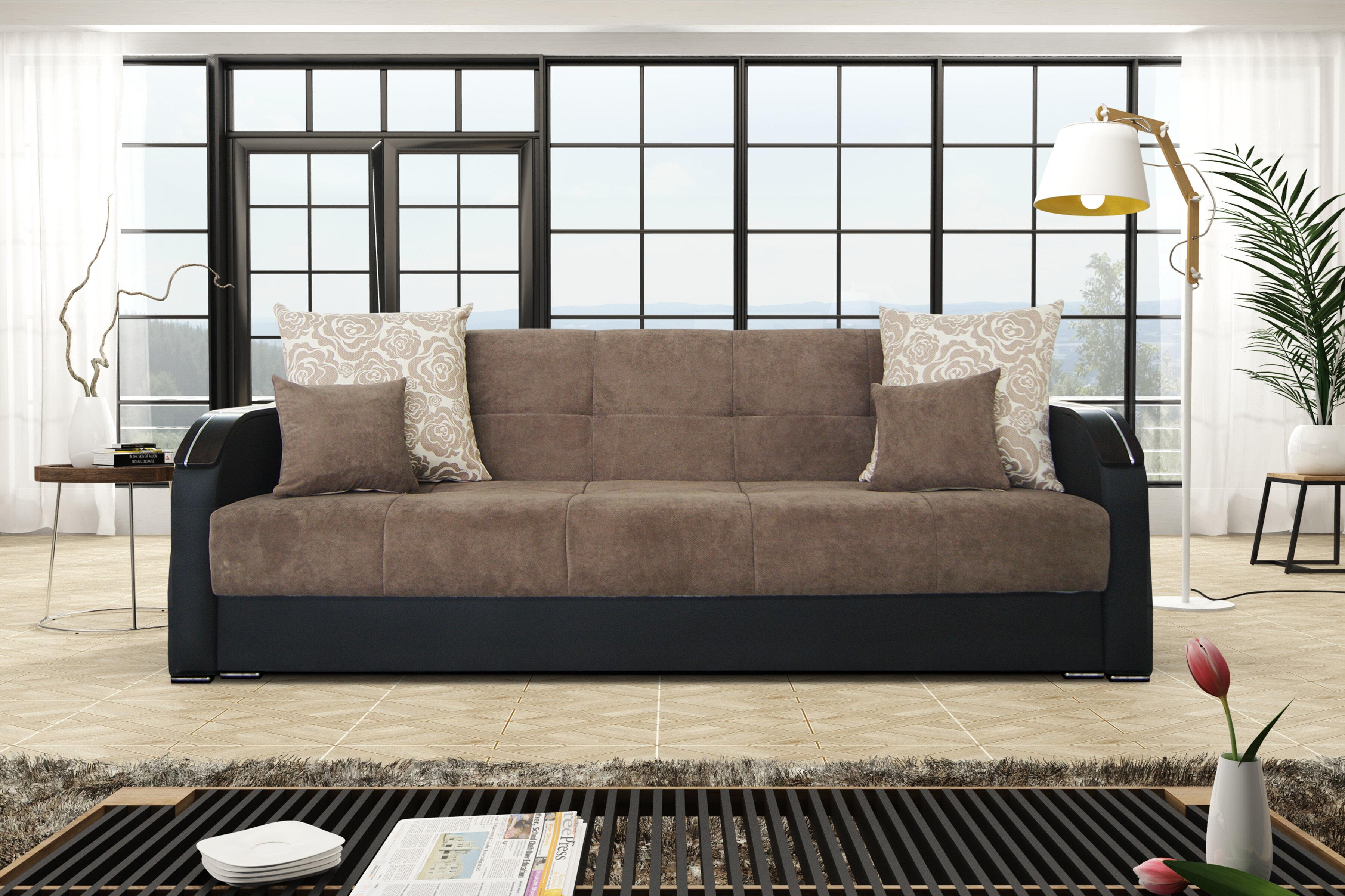 latitude run vivanco microfiber 34 square arm sofa bed lttn4535