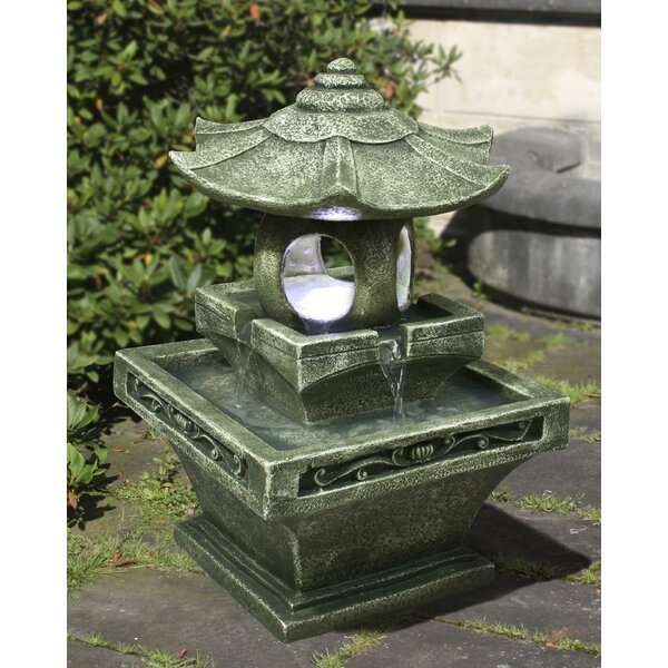 Fiber and Resin Pagoda Lantern Fountain with LED Light by Hi-Line Gift Ltd.