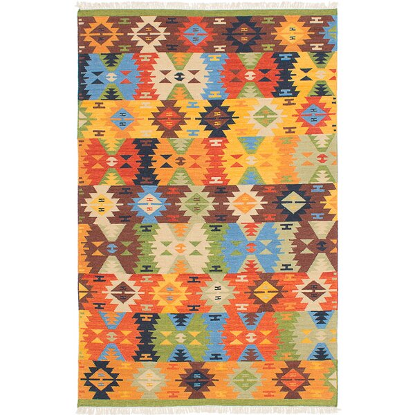 Mamaris Hand-Woven Blue/Orange/Brown Area Rug by ECARPETGALLERY