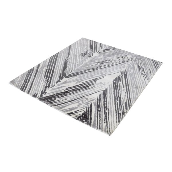 Silvester Hand-Woven Gray/White Area Rug by Wrought Studio
