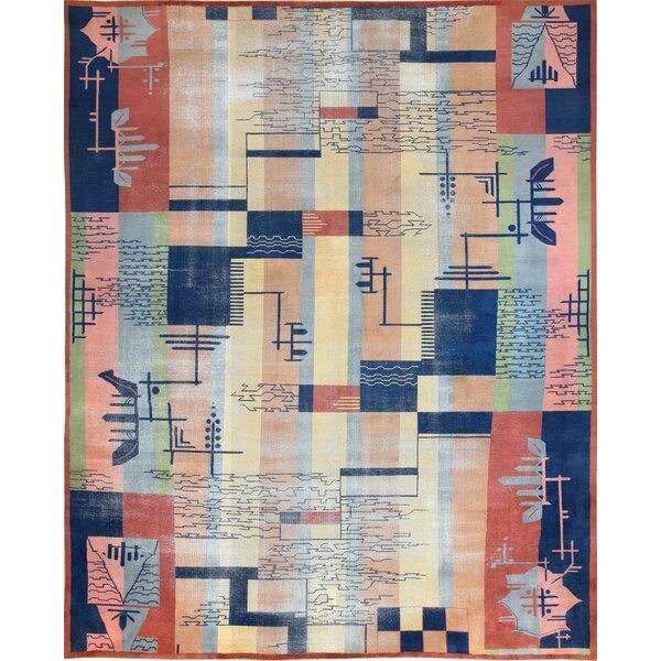 One-of-a-Kind Indian Hand-Knotted 1950s Indian Blue 12'4 x 15' Cotton Area Rug