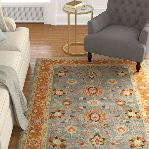 Cranmore Hand-Tufted Gray/Orange Area Rug by Charlton Home