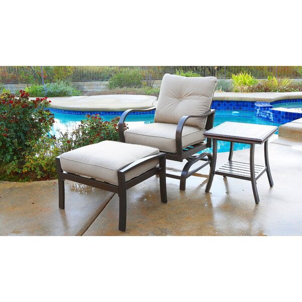 Bevins North Ridge Patio Chair with Cushions and Ottoman by Canora Grey