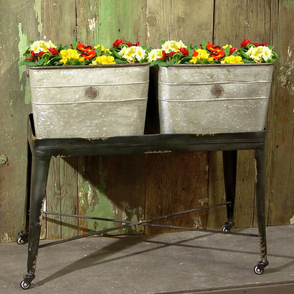 Ogden Vibe Galvanized Double Wash Metal Planter Box by American Mercantile