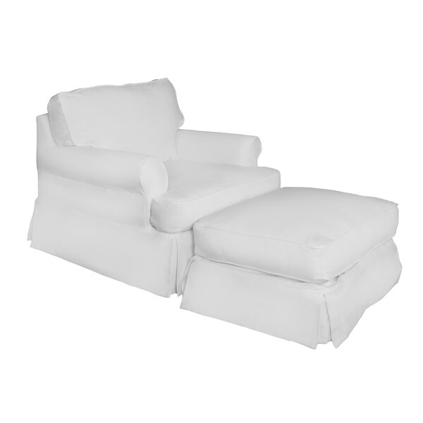 T-Cushion Armchair And Ottoman Slipcover By Beachcrest Home