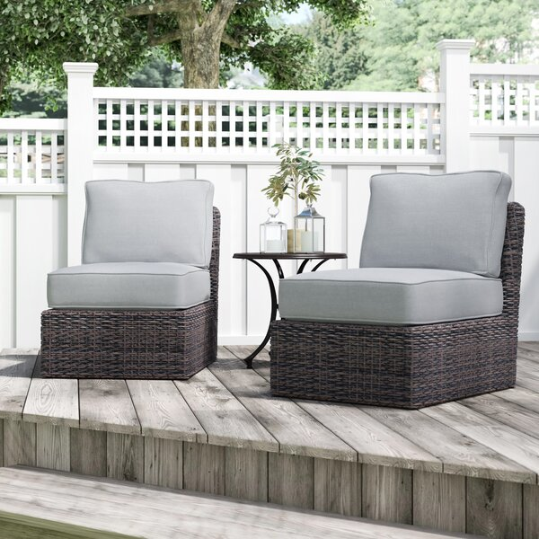 Almyra Armless 2 Piece Patio Chair with Cushions (Set of 2) by Sol 72 Outdoor Sol 72 Outdoor