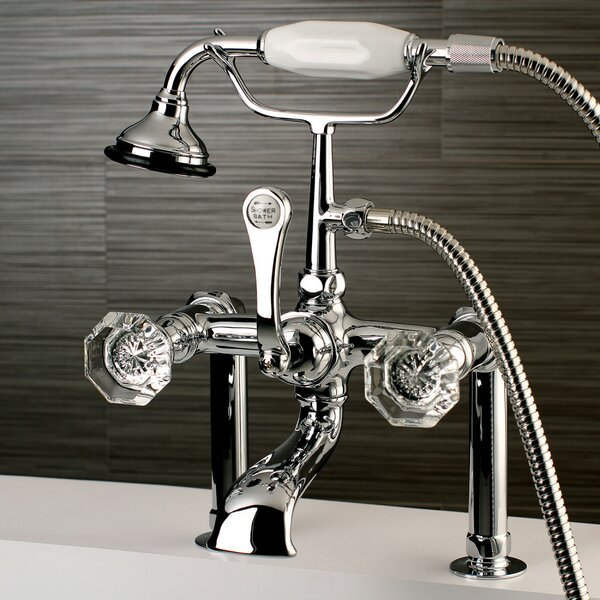 Celebrity Triple Handle Deck Mounted Clawfoot Tub Faucet With Diverter And Handshower By Kingston Brass