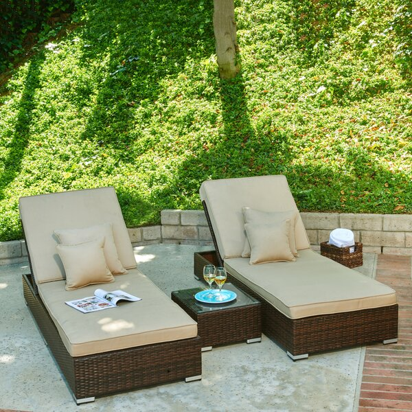 Ismail Monaco 3 Piece Rattan Seating Group Conversation Set with Cushions by Breakwater Bay