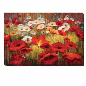 'Meadow Poppies II' by Lucas Santini Painting Print on Wrapped Canvas by Artistic Home Gallery