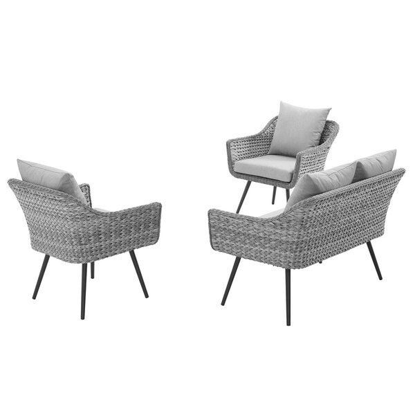 Thayne Patio 3 Piece Sofa Seating Group with Cushions by Ivy Bronx
