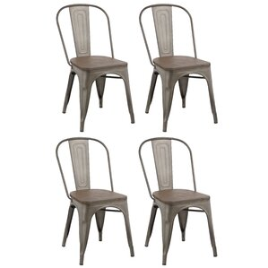industrial metal solid wood dining chair set of 4