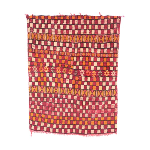 Moroccan Hand Woven Wool Orange/Red Area Rug by Indigo&Lavender