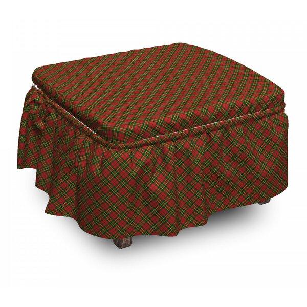 Checkered Irish Tartan Xmas 2 Piece Box Cushion Ottoman Slipcover Set By East Urban Home