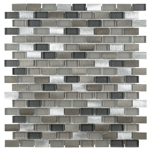 Commix 0.5 x 1.875 Glass/Brushed Aluminum Mosaic Tile in Brown/White by EliteTile