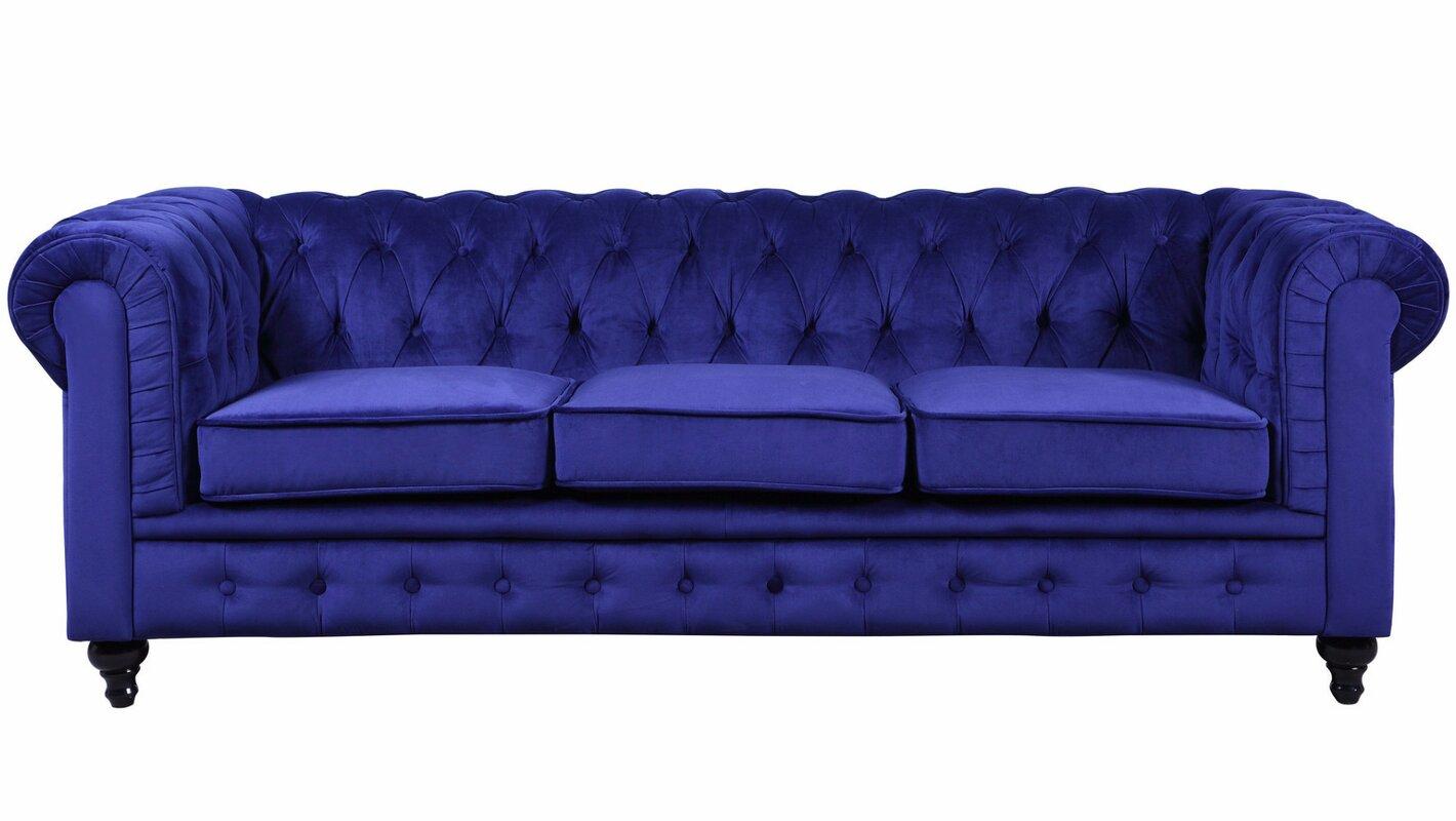 Elstone Classic Scroll Arm Tufted Velvet Large Chesterfield Sofa
