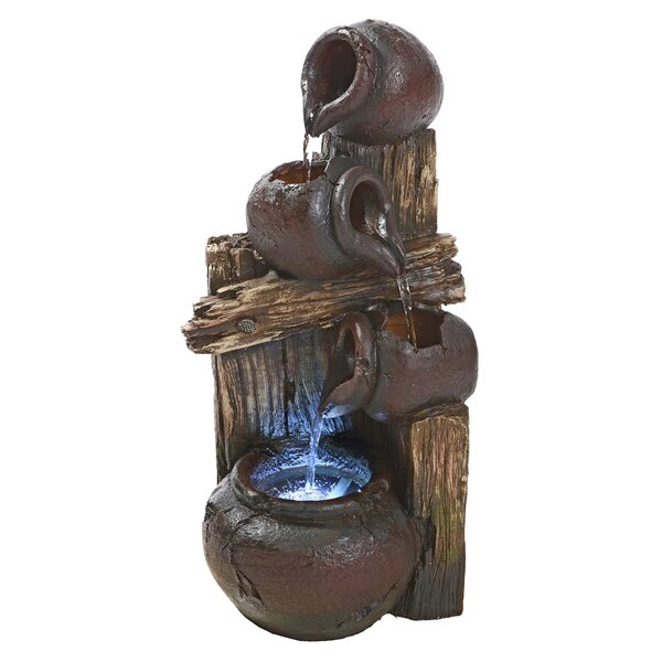 Resin Cascading Urns Illuminated Garden Fountain with LED Light by Wildon Home ®