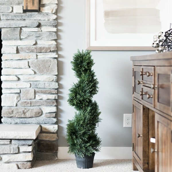 Inherently Flame Retardant Spiral Floor Cedar Topiary in Planter by Fleur De Lis Living