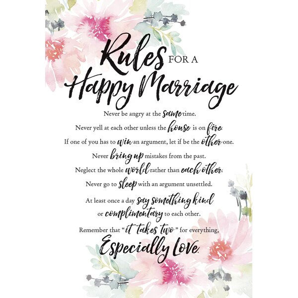 Woodland Grace Rules For Happy Marriage Textual Art on Wood by Dexsa