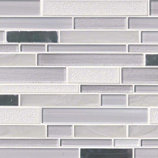 Krystal Interlocking Pattern Random Sized Glass/Metal Mosaic Tile in White/Gray by MSI