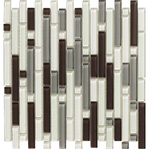 12 x 12 Santa Monica Glass Mosaic Tile in Noce by Kellani