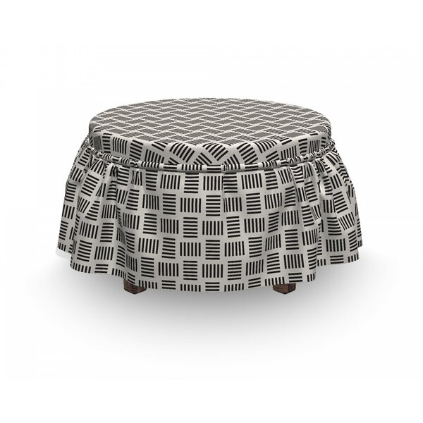 Contemporary Bold Lines Ottoman Slipcover (Set Of 2) By East Urban Home