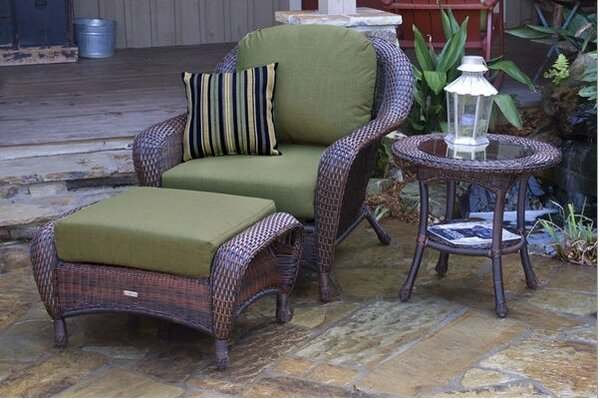 Fleischmann 3 Piece Arm Chair, Ottoman and Table Set with Cushions by Darby Home Co