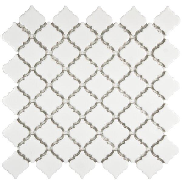 Pharsalia 2 x 2.25 Porcelain Mosaic Tile in Glossy White by EliteTile