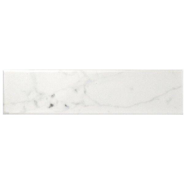 Karra Carrara 3 x 12 Ceramic Subway Tile in Glossy White/Gray by EliteTile