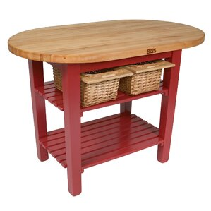 Amazing Eliptical C Table Kitchen Island With Butcher Block Top