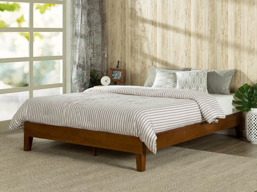 zinus deluxe wood platform bed & reviews   wayfair