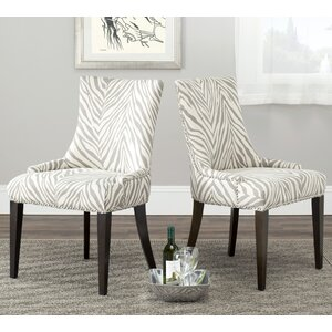 Alpha Centauri Upholstered Side Chair in Linen - Grey Zebra by Brayden Studio