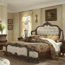 Lavelle Wing Mansion Upholstered Panel Bed by Michael Amini (AICO)