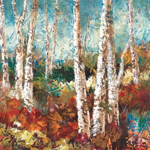 'Birch Sky II' Painting Print on Wrapped Canvas by Three Posts