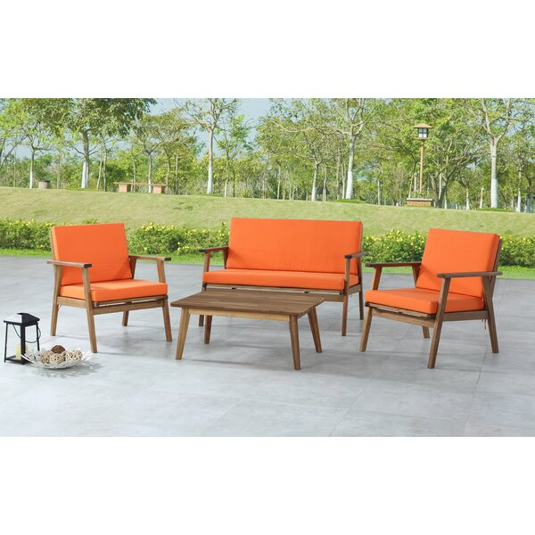 Lindenfield 4 Piece Sofa Seating Group with Cushions by Wrought Studio