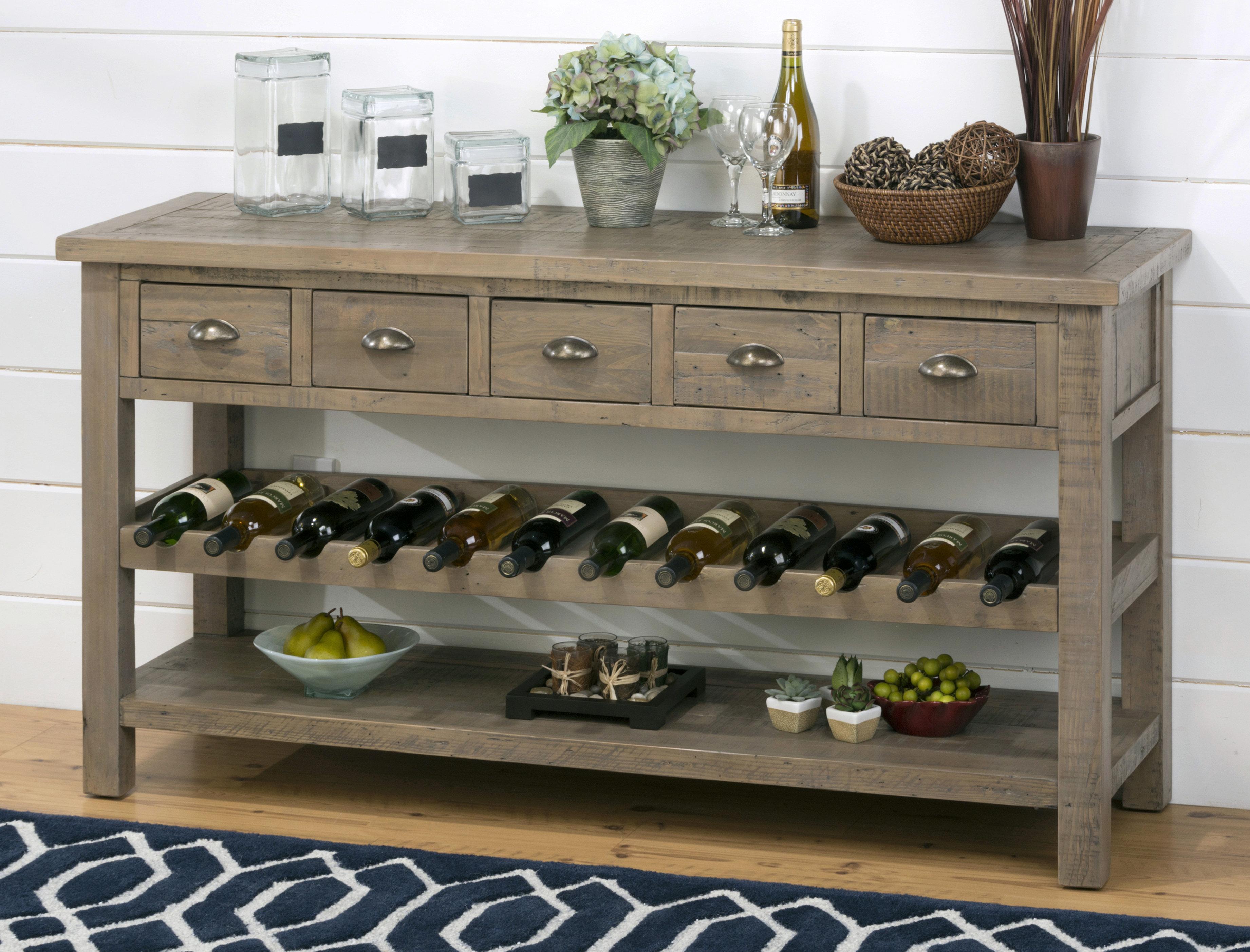 Gracie Oaks Lovella Wooden Wine Rack Buffet Table Wayfair