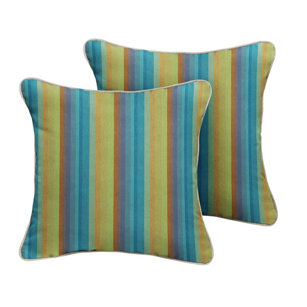 Ny Sunbrella Astoria Lagoon Stripe Outdoor Throw Pillow (Set of 2) by Bayou Breeze