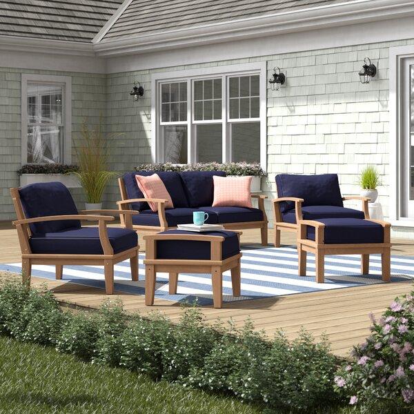 Elaina 5 Piece Teak Sofa Seating Group with Cushions by Beachcrest Home