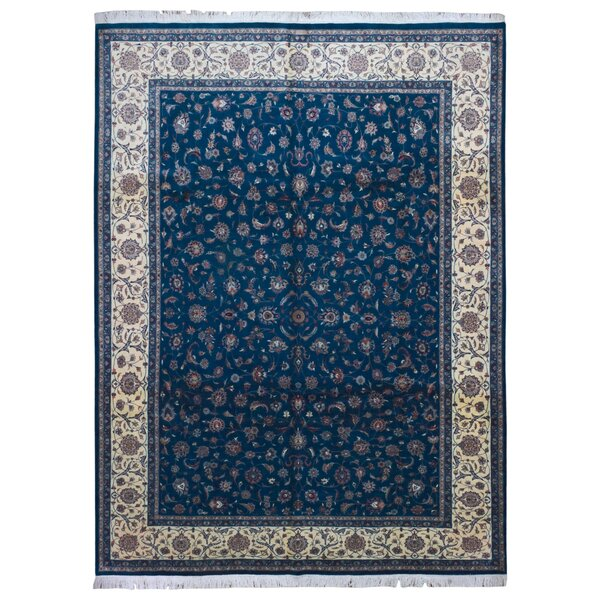One-of-a-Kind Evert Tabriz Oriental Hand-Woven Wool Green/Blue Area Rug  by Isabelline