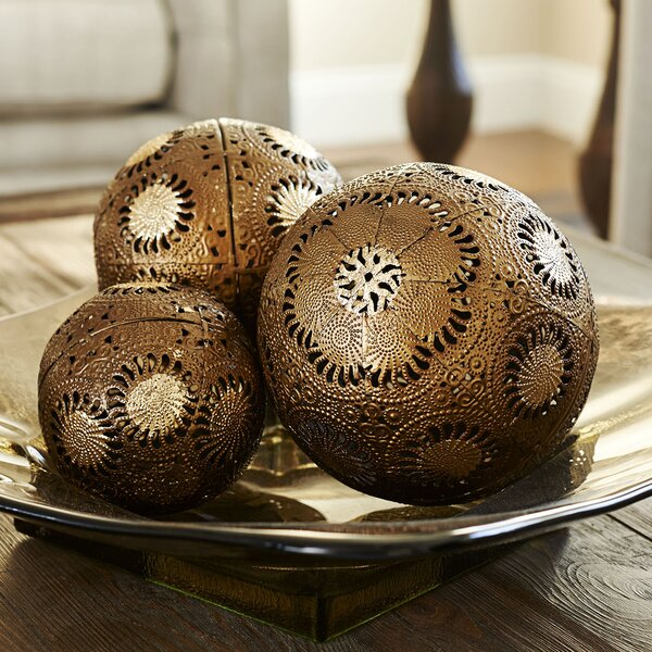3 Piece Metal Sunburst Decorative Ball Set by Household Essentials
