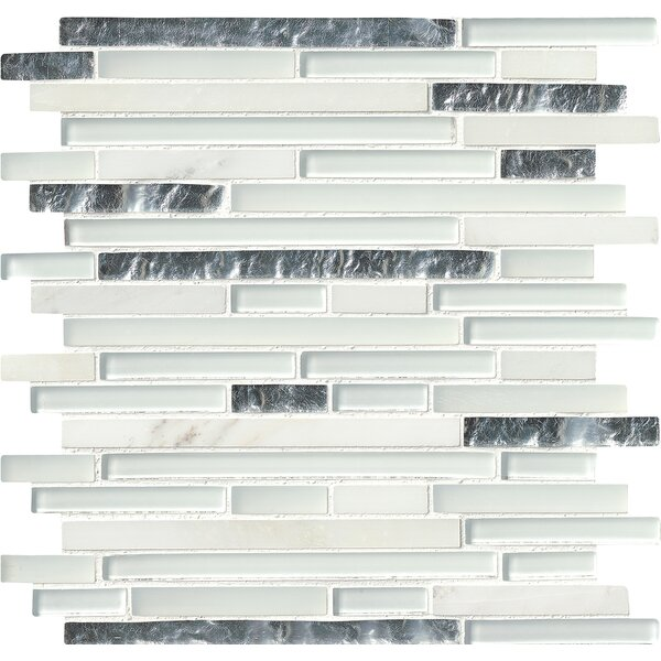 Cristallo Interlocking Random Sized Glass/Stone Mosaic Tile in White by MSI